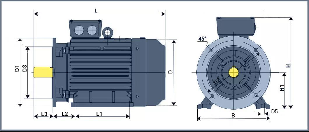 Чертеж электродвигателя 160 квт с фланцем